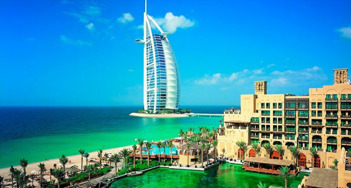 32 - Burj Al Arab, 321 meters high, is the flagship hotel of Dubai