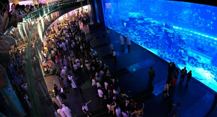 7 - The malls have aquariums